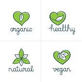 Organic, healthy and vegan badges - emblems for vegetarian food