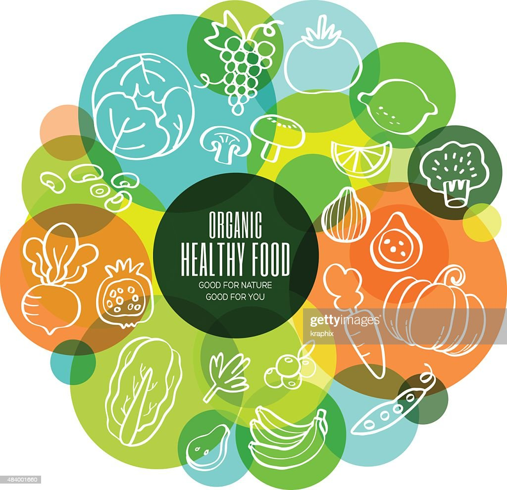 Organic healthy fruits and vegetables conceptual illustration