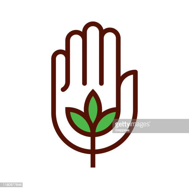 organic icon - hand stock illustrations
