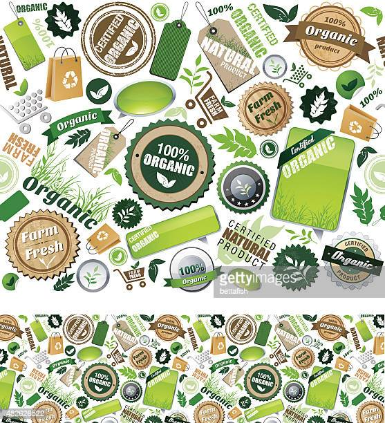 organic icons - repeat seamless pattern - antioxidant stock illustrations, clip art, cartoons, & icons