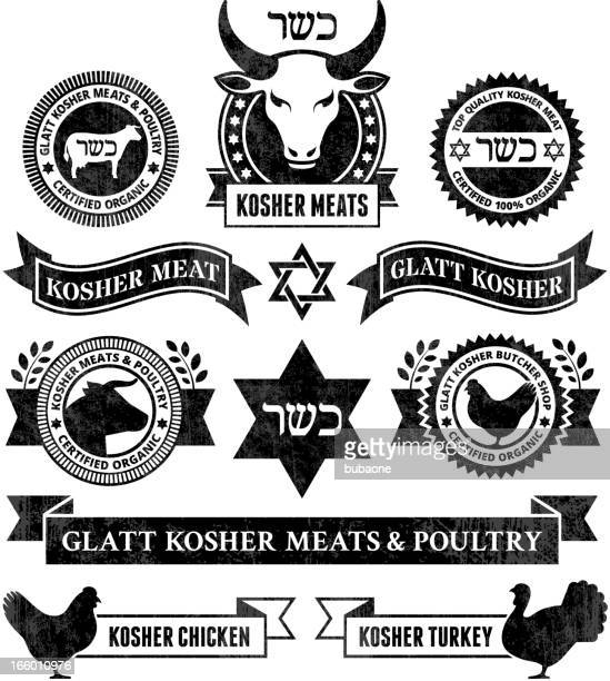 ilustrações, clipart, desenhos animados e ícones de organic kosher carnes e aves preto & branco conjunto de ícones - great seal