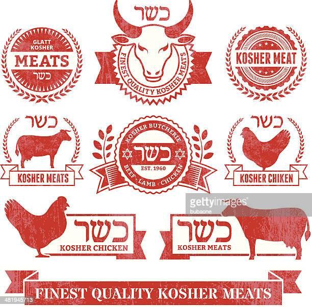 ilustraciones, imágenes clip art, dibujos animados e iconos de stock de comida kosher carne orgánica y grunge vector conjunto de iconos de aves - matadero