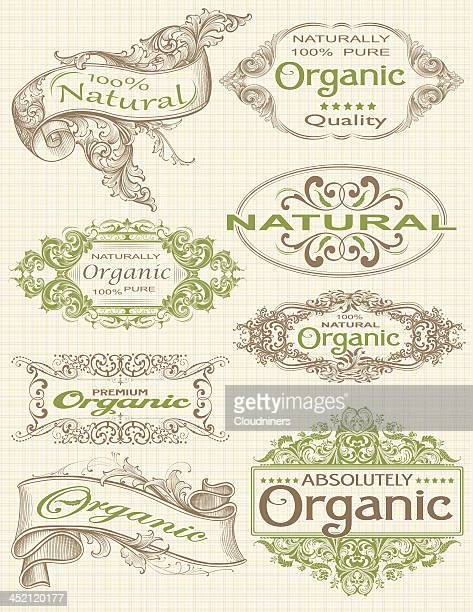 organic labels and frames for products - art nouveau stock illustrations, clip art, cartoons, & icons