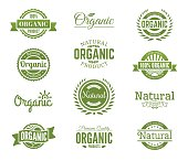 Organic logos. Natural food labels and bages collection. Vector