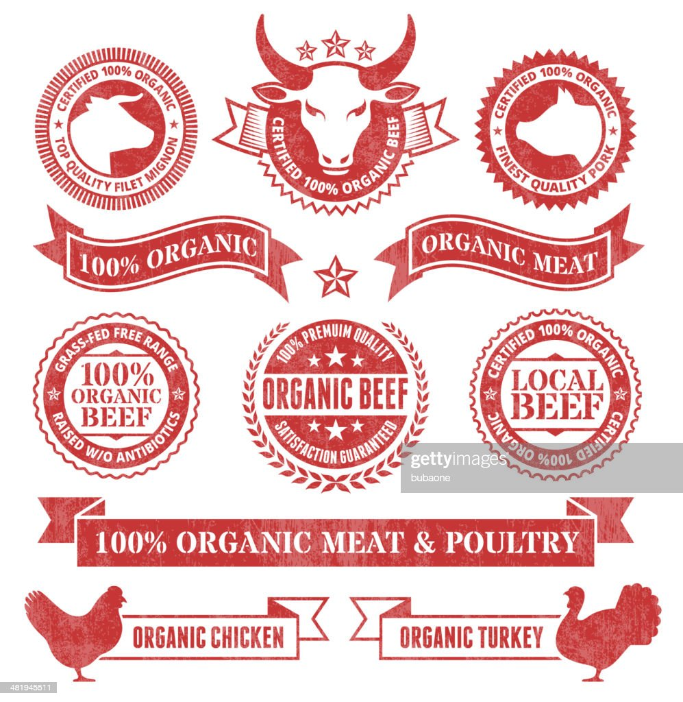 Organic Meat and Poultry Grunge royalty free vector icon set : stock illustration