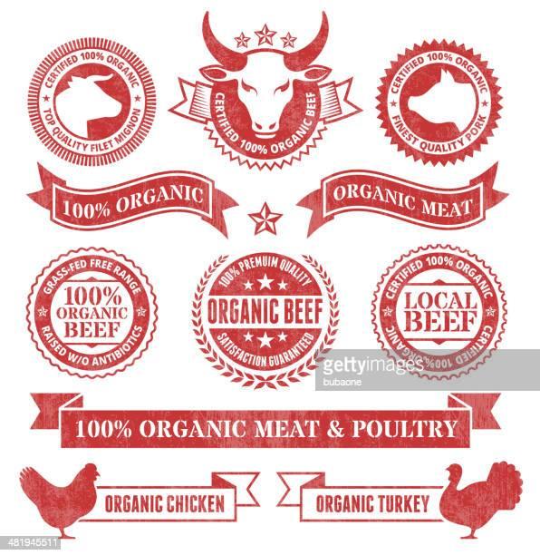 ilustraciones, imágenes clip art, dibujos animados e iconos de stock de carne orgánica y aves grunge conjunto de iconos vectoriales sin royalties - matadero