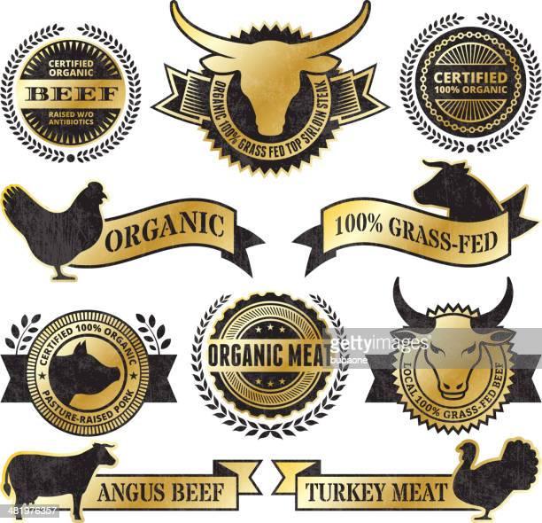 ilustraciones, imágenes clip art, dibujos animados e iconos de stock de orgánicos, carne de aves grunge negro y oro vector icono conjunto - matadero