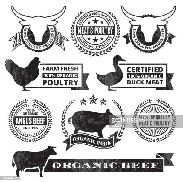 Organic Meat Poultry Grunge Black and White vector icon set