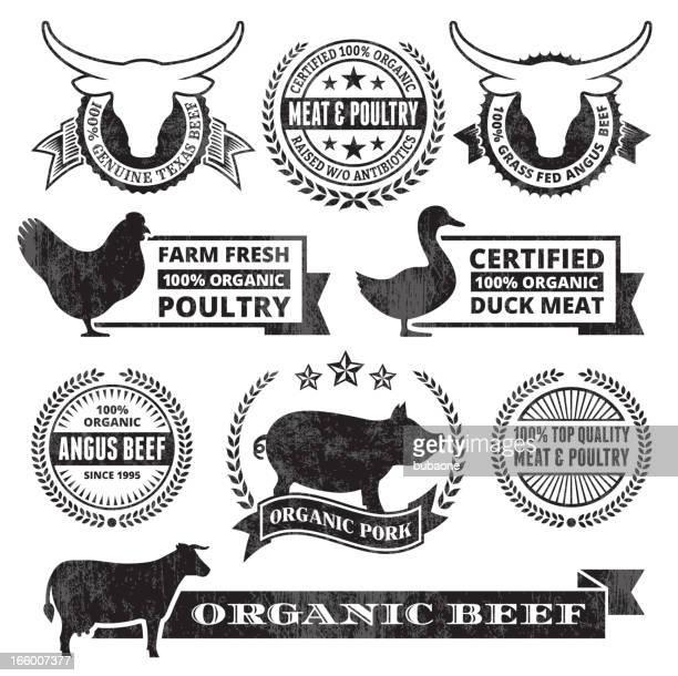 ilustraciones, imágenes clip art, dibujos animados e iconos de stock de orgánicos, carne de aves grunge negro y blanco vector icono conjunto - matadero