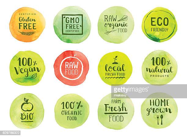 organic natural food labels - freshness stock illustrations