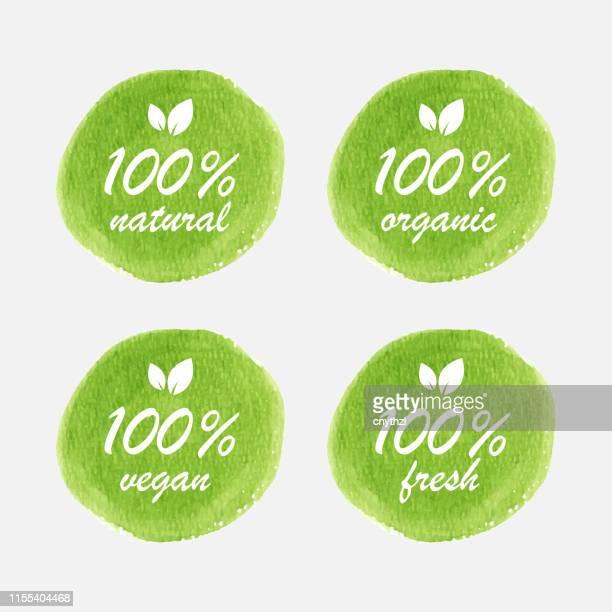 illustrazioni stock, clip art, cartoni animati e icone di tendenza di design del badge biologico, naturale, vegano e fresco in stile acquerello - biologia