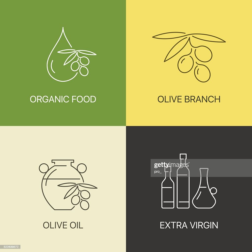 Organic olive thin line logo concept