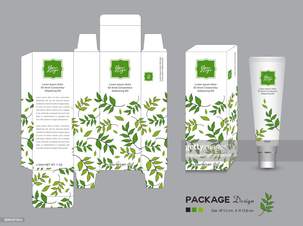 organic packaging Template Vector Illustration. Package tags. healthy products, Cream layout. beauty. Fresh ecological. nature box. green tea, Body care, spa, lotion, Realistic bottle mock up. label.
