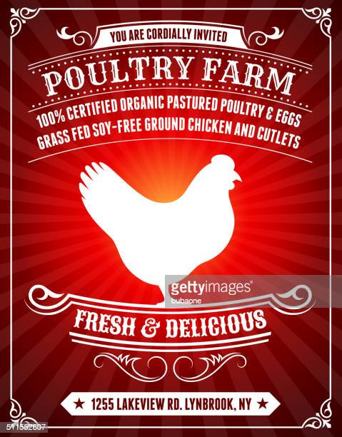 Organic Poultry Farm Poster on Red Background