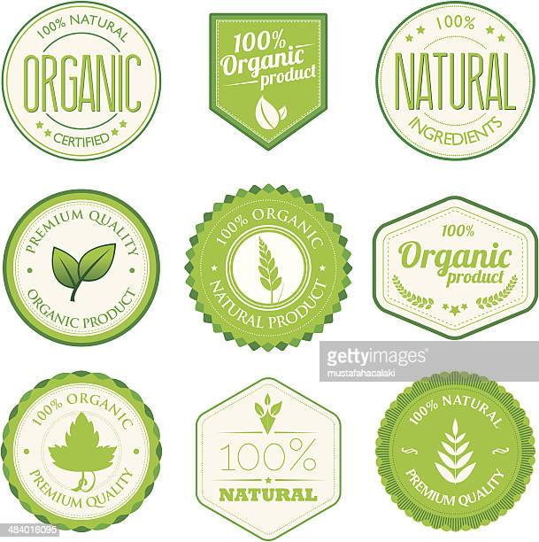 organic product badges - organic stock illustrations, clip art, cartoons, & icons