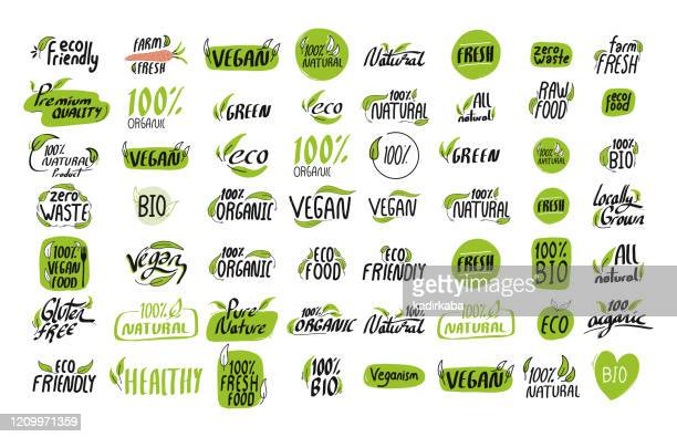 organic product icon set vector illustration symbol design element - vegetarianism stock illustrations