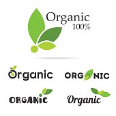 100% organic product logo set. Natural food labels. Fresh farm