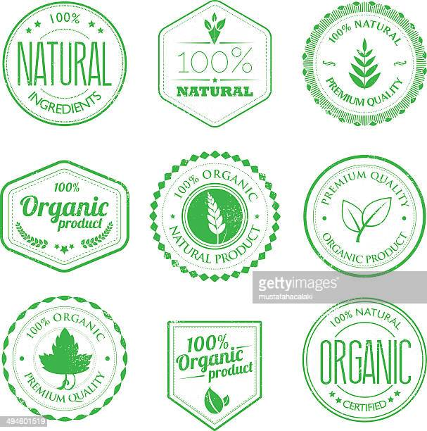 organic product stamps set - organic stock illustrations, clip art, cartoons, & icons