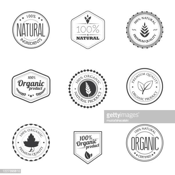 organic product stamps - purity stock illustrations
