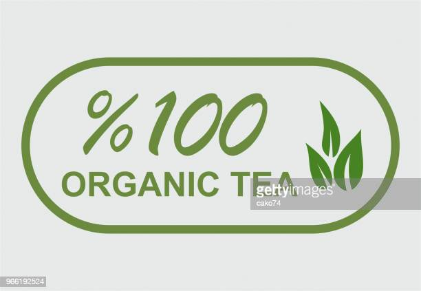 organic product sticker symbol - green tea stock illustrations, clip art, cartoons, & icons