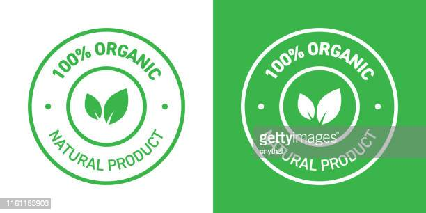 100% organic products badge - packaging stock illustrations