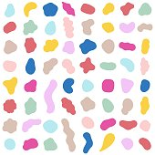 Organic shapes. Color various blotch, abstract irregular random blobs. Pebble stone silhouette, simple liquid amorphous splodge, colorful water forms, creative pastel pattern vector set