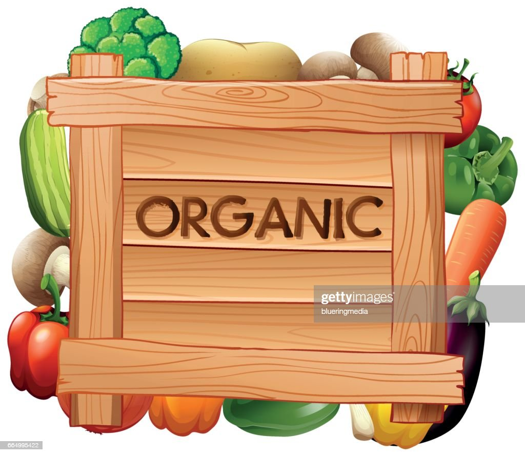 Organic sign and many types of vegetables
