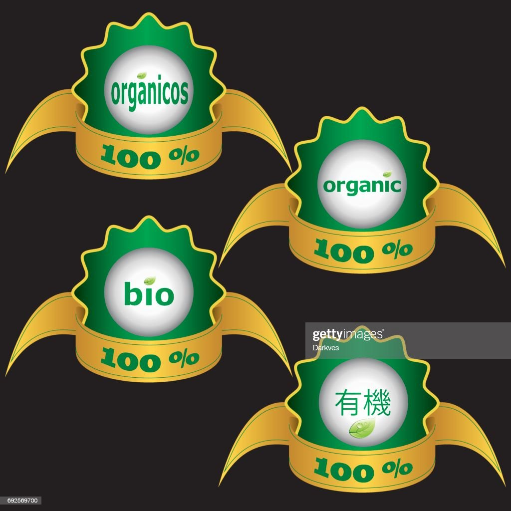 Organic stickers with ribon on black background