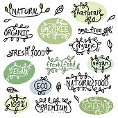 Organic Vegan Fresh Food Calligraphic