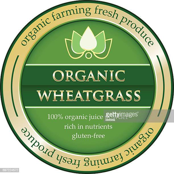 organic wheatgrass juice powder gold label - juice drink stock illustrations, clip art, cartoons, & icons
