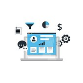 Organization Of Data On Work With Clients CRM Concept Customer Relationship Management Vector Illustration