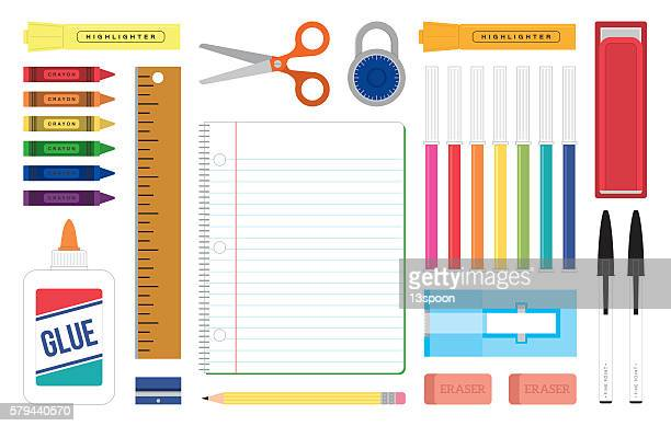 organized desktop scene - ruler stock illustrations