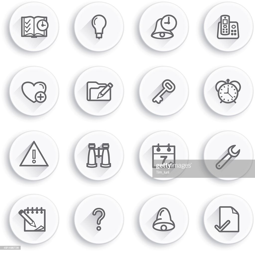 Organizer flat contour icons on white buttons.