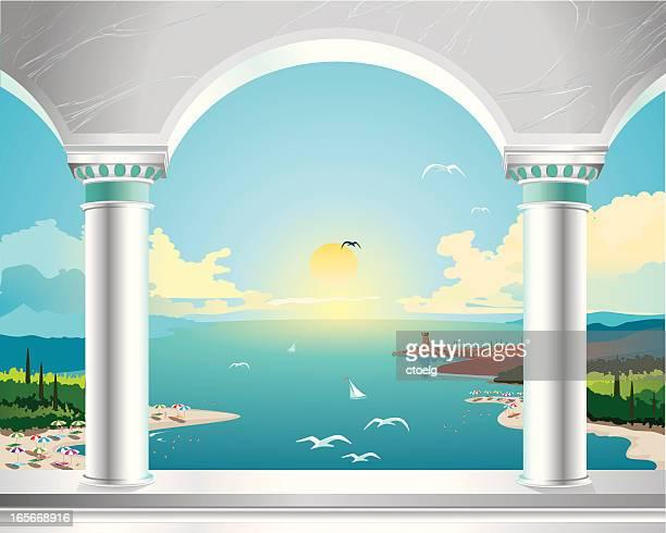 orient summer sun - palace stock illustrations