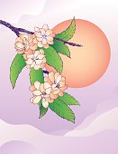 Oriental cherry and moon