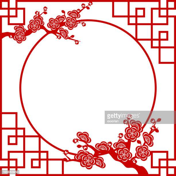 oriental frame - east asian culture stock illustrations