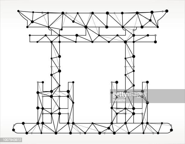 Oriental Gate Triangle Node Black and White Pattern