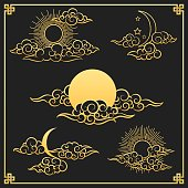 Oriental gold clouds, sun and moon