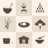 Oriental influenced icons of rice in all its forms in brown