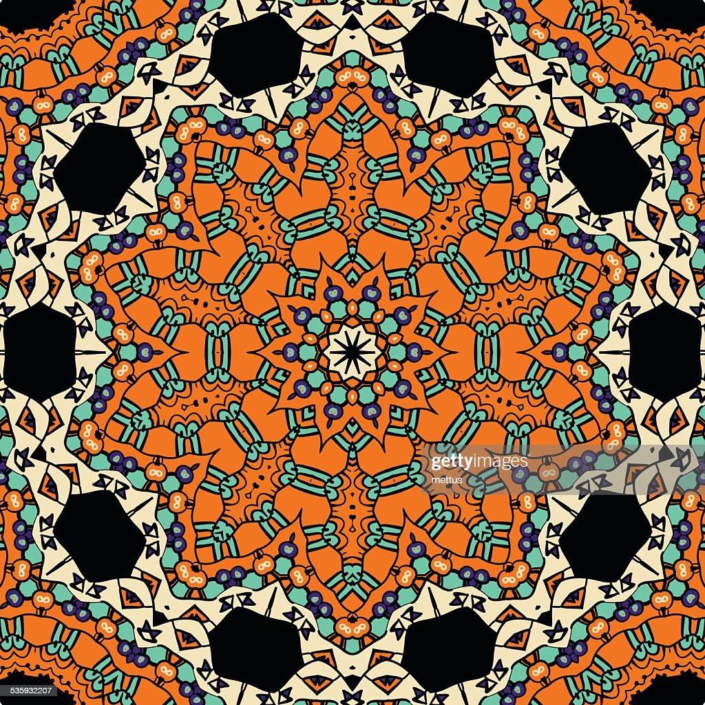 Oriental ornate seamless pattern. Ethnic endless background. Vector illustration : Vector Art