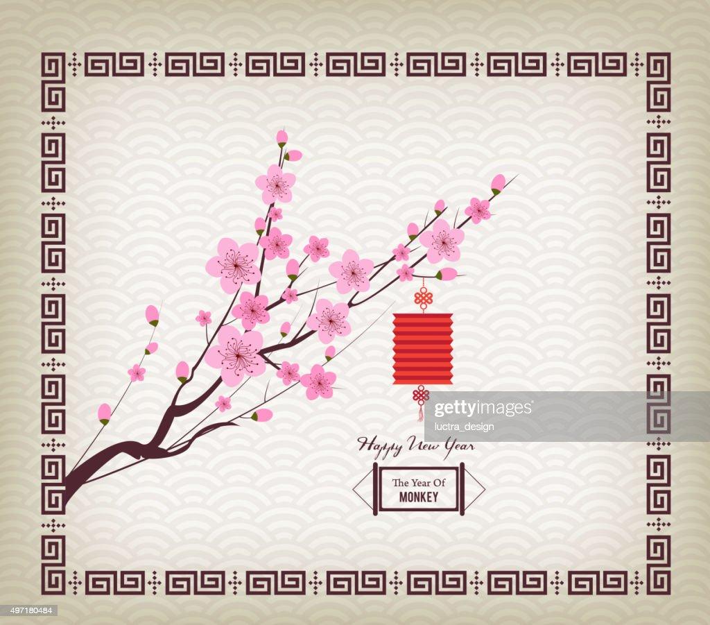 Oriental Paper Lantern, plum blossom. Chinese new year
