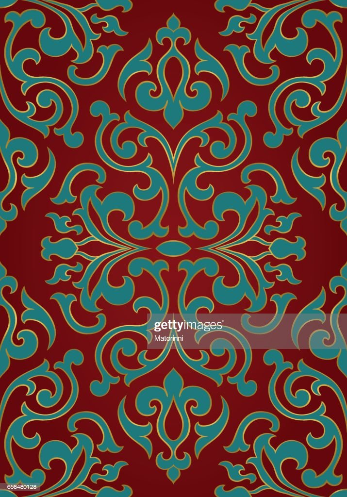 Oriental red and turquoise ornament.