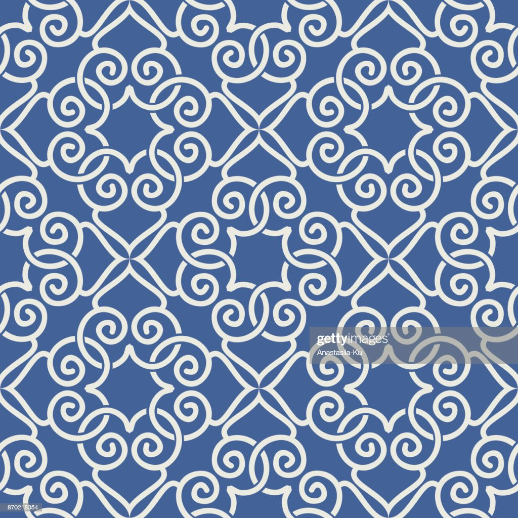 Oriental Seamless Pattern. Seamless geometric flower design