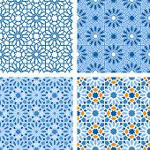 Oriental seamless patterns set