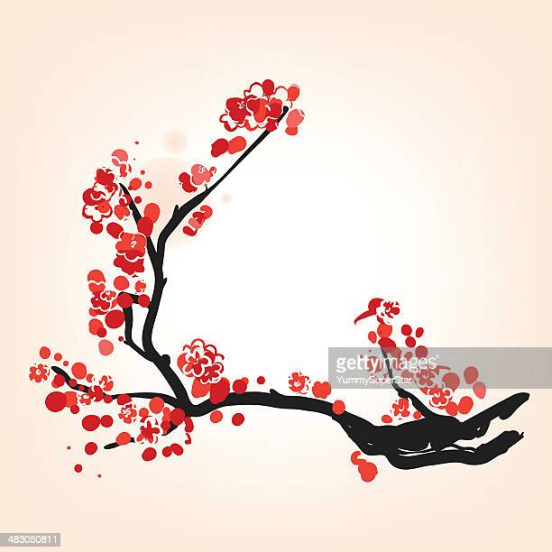 oriental style blossom in spring - flowering trees stock illustrations, clip art, cartoons, & icons