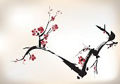 Oriental style painting of red blossom on a black branch