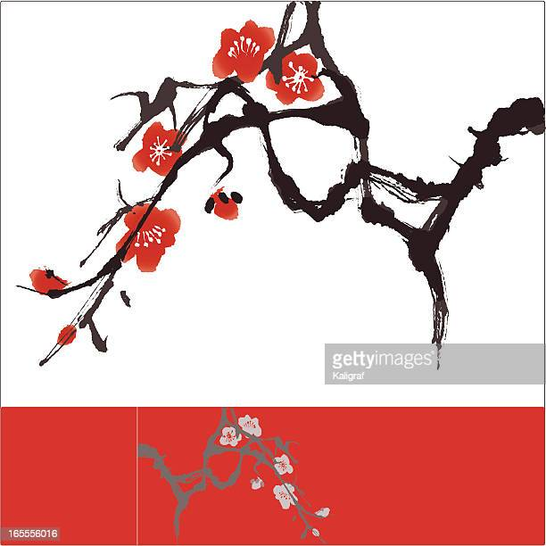oriental style painting, plum blossom - china east asia stock illustrations