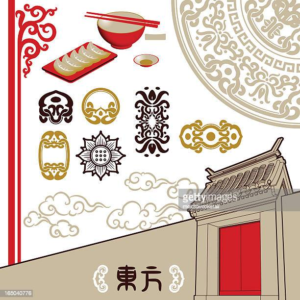 oriental touch (design elements) - pagoda stock illustrations, clip art, cartoons, & icons