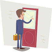 Oriented Happy Businessman with Briefcase Knocking at Customer Door on