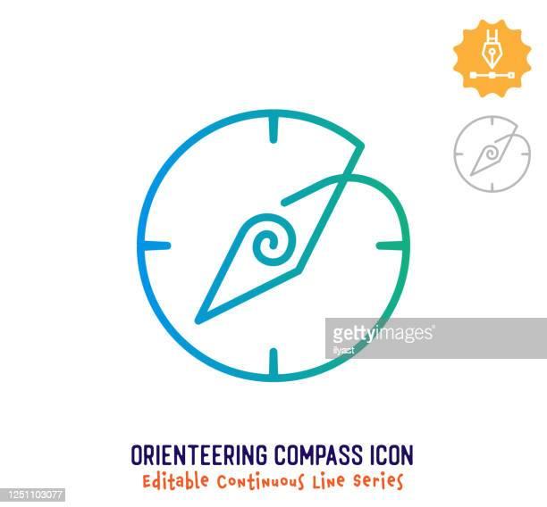 orientierungskompass kontinuierliche linie editierbare hublinie - norden stock-grafiken, -clipart, -cartoons und -symbole